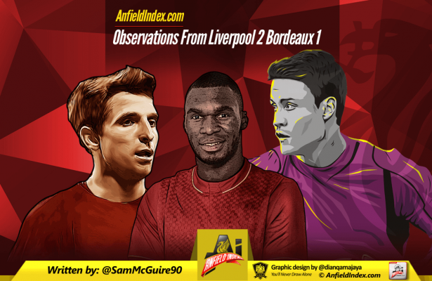 Observations from Liverpool 2 Bordeaux 1