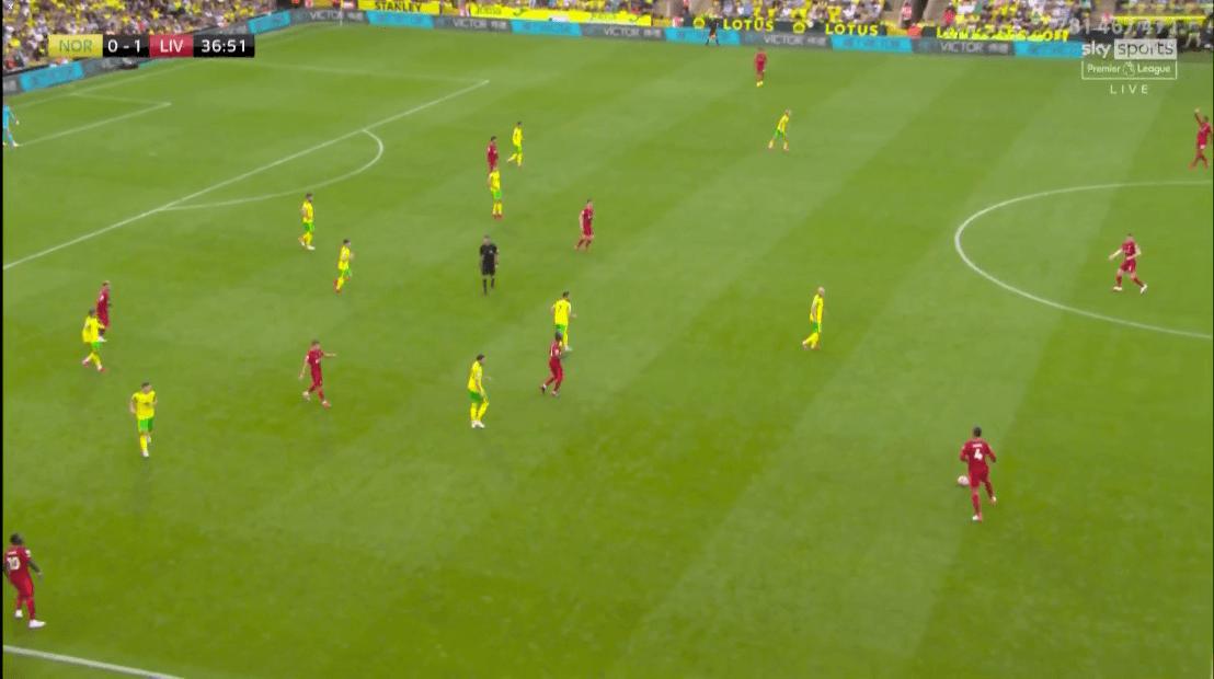 Van Dijk cầm bóng khi toàn bộ cầu thủ Norwich đã lui về phòng ngự